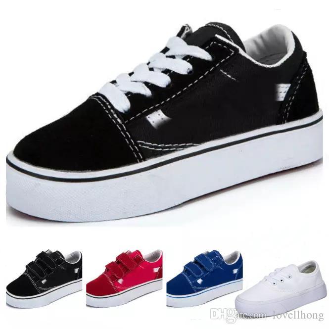 97c0874f9 Compre Vans Old Skool Low Top CLASSICS Marca Niños Zapatos Infantiles  Clásico Skool Niños Niñas Negro Blanco Rojo Bebé Niños Lona Skate  Zapatillas De ...
