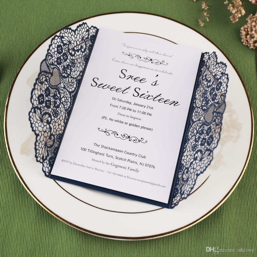 2019 Laser Cut Pocket Wedding Invitation Suites Custom Inner Sheet
