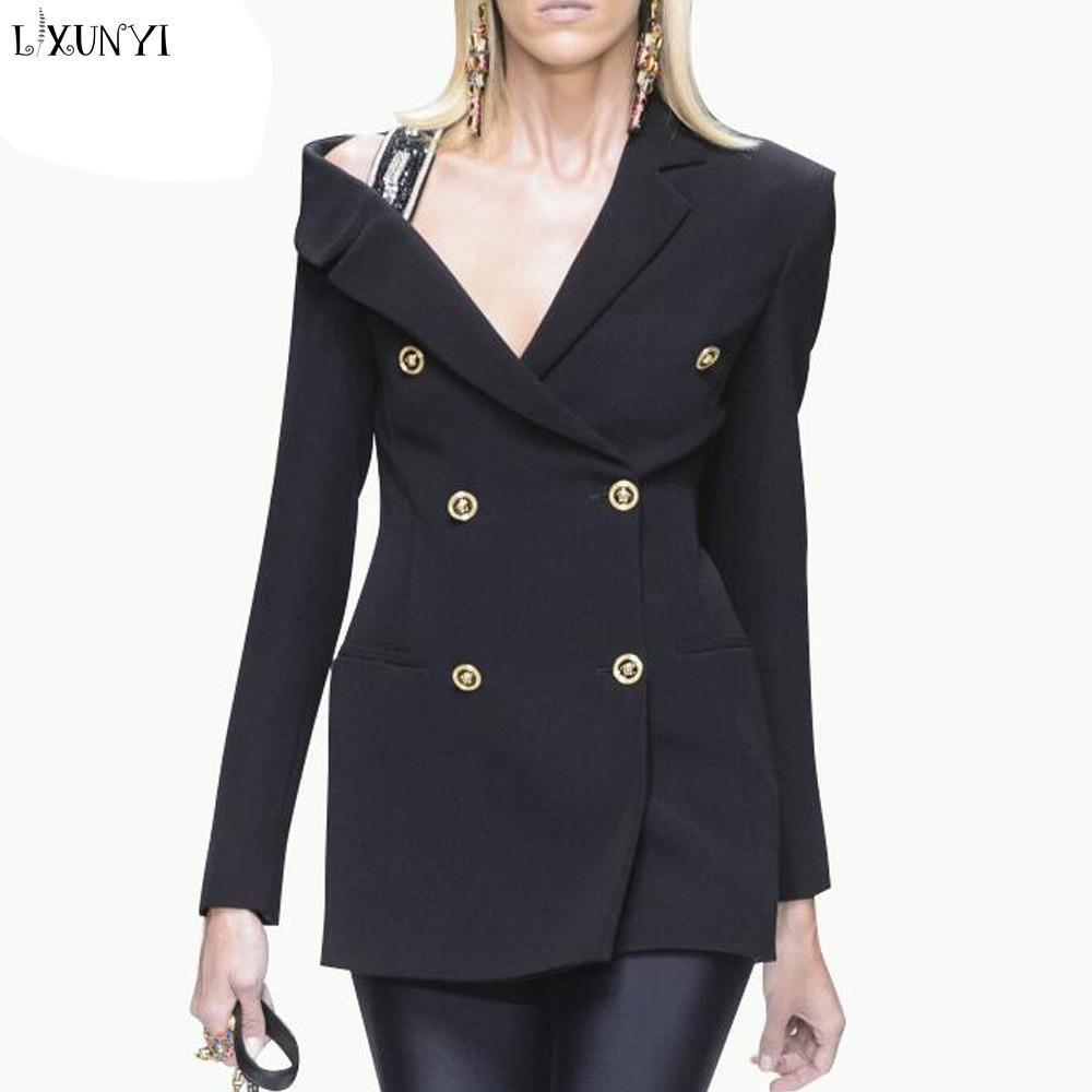 2019 Lxunyi Double Breasted Blazer Women Sexy Off Shoulder Slim