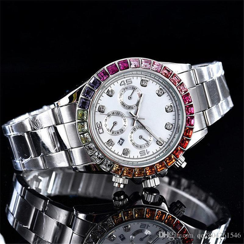 Color diamond relogio masculino mens watches Luxury wist fashion With Calendar Bracklet Folding Clasp Master women giftluxury Mens Watches