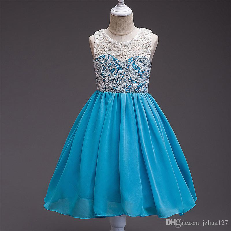 Flower Girl Dress Kids Ball Gowns First Communion Dresses Pageant Girls Glitz Scoop Lace Applique Kids Dress Girl Clothing AA74