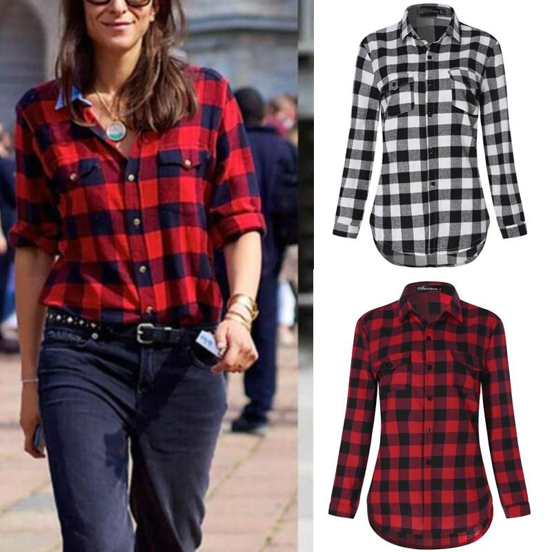 434bfba6cb2a3 2019 ZANZEA Casual Blouses 2018 Spring Women Plaid Shirt Checks Flannel  Lapel Long Sleeve Shirts Female Tops Blusas Plus Size 3XL Red From Aprili