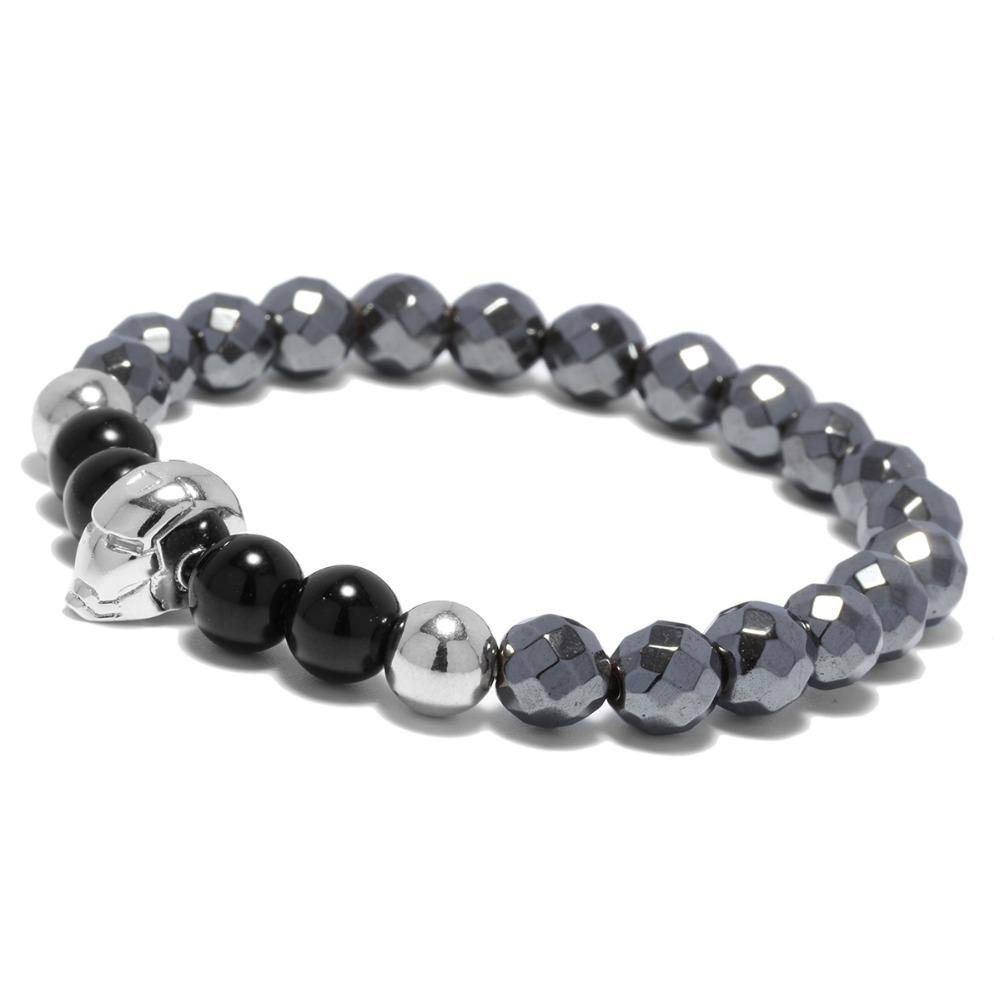 New Fashion Luxury Obsidian Stone Beads Braclet Super Hero Iron Man Cool Biker Bracelet For Male Boy Sport Bracelet Jewelry Accessories