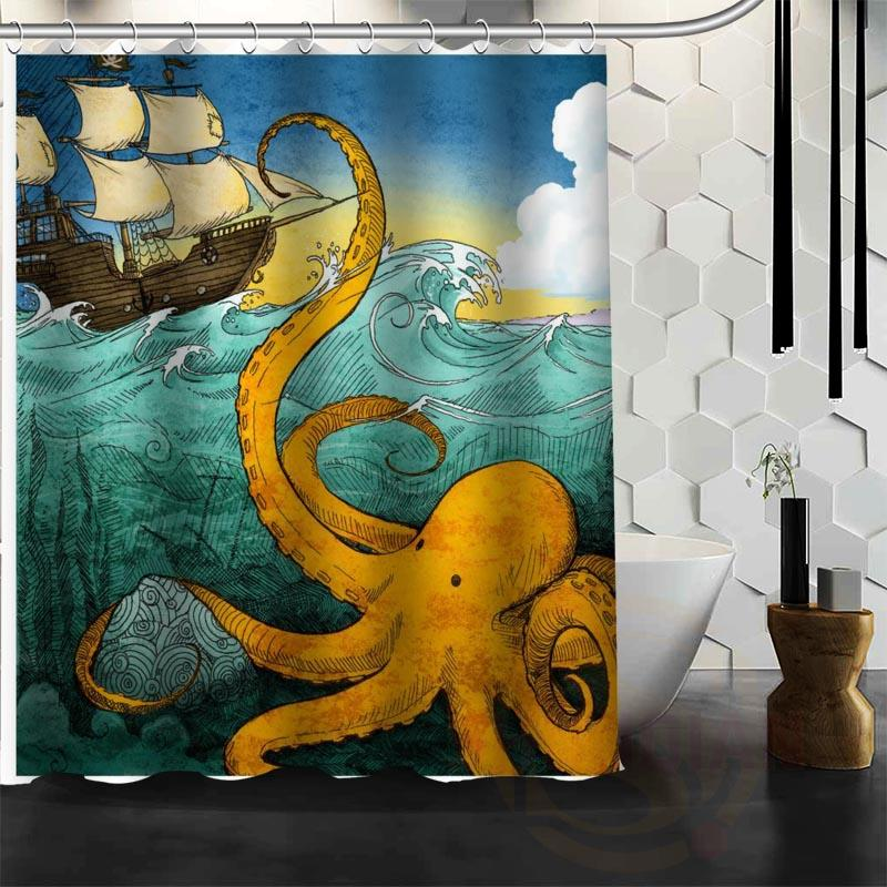 2019 Best Nice Custom Popular Octopus Pirate Shower Curtain Bath Waterproof Fabric For Bathroom MORE SIZE W30 From Flaminglily 2861