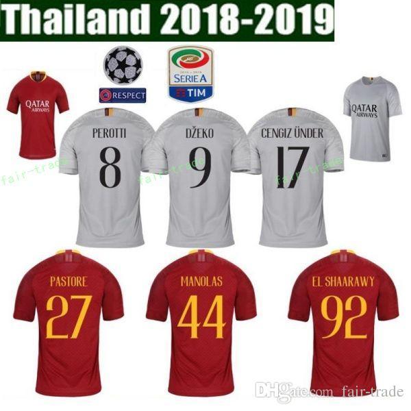 Camiseta De Fútbol FC AS Roma 2018 2019 Hombre Red 1 OLSEN 27 PASTORE 8  PEROTTI 11 KOLAROV 7 Camiseta De Fútbol PELLEGRINI Uniforme Por Fair Trade 60cca9541eeaf