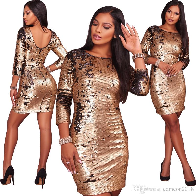 df76853e6fb3c3 2018 Strapless Sequins Gold Tight Party Dresses for Women Crew Neck Night  Club Dresses Three Quarter Sleeve Womens Casual Dress Womens Clothing Party  ...