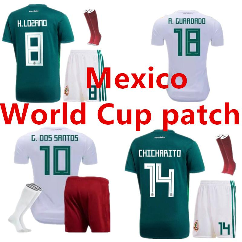 2018 World Cup Mexico Adult Kit+socks Soccer Jersey National Team ... 431e0b6be05