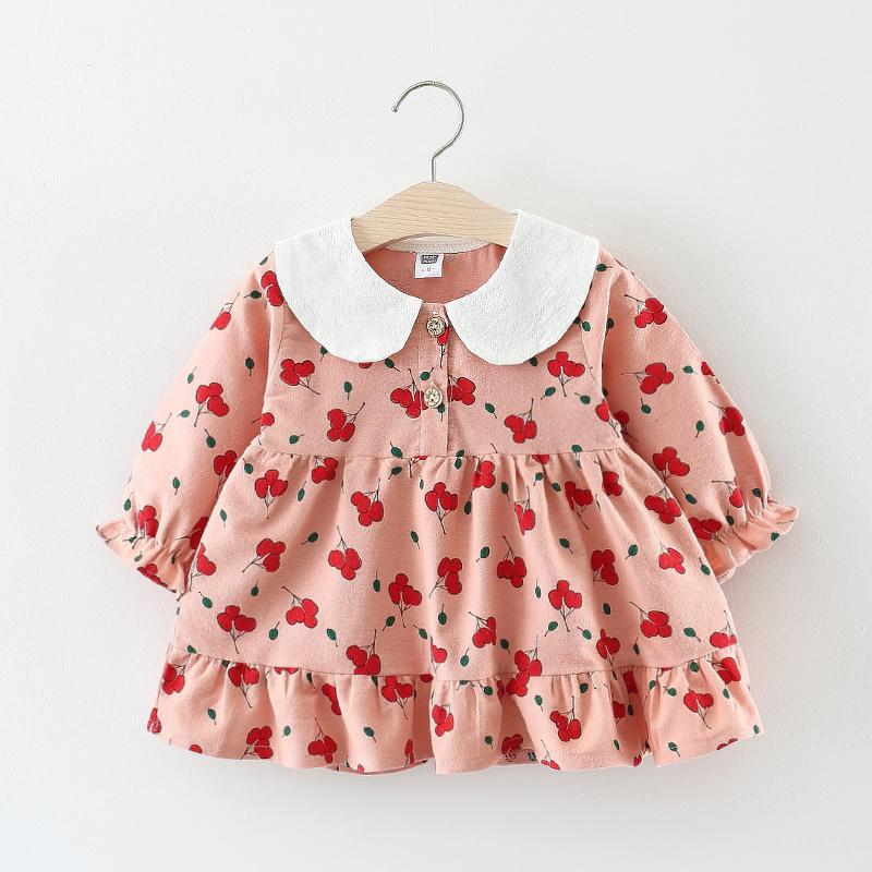 7f0d8f56a4f76 Baby Dress Cotton Dress 1 Year Old Baby Girls pink New Born Girl Clothes  long sleeves Infant Princess Floral