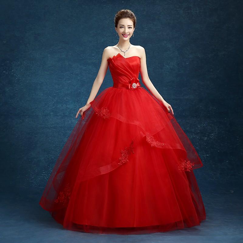 Moda Clássico 2018 New Strapless Barato Branco Rosa Vermelho Bordado Vestido de Noiva Romântico Vestido De Noiva Vestidos De Noiva