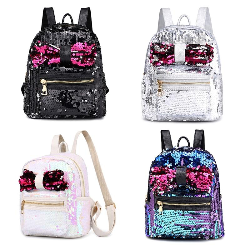 ecb49e7417 THINKTHENDO New Mini Glitter Sequin Backpacks for Women 2018 Purse Cute Bow  Travel Shoulder Bag for Girls Women Bookbag School Bags Cheap School Bags  ...