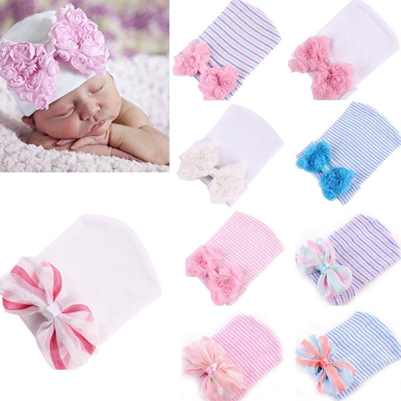 07840adeb Cute Girls Hats Winter Warm Newborn Baby Girl Stripe Bow Knot Hat Cotton  Girl Flower Print Hat Cap Casual Kids Girls Hats Beanie