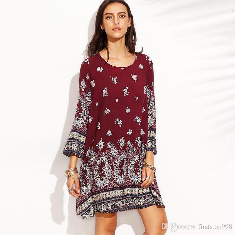 3144bec7f Acquista Moda Plus Size Dress Donna Primavera Estate Abiti Casual Manica  Lunga Stampa Floreale Shift Abiti Borgogna Nero A  11.06 Dal Firststop998