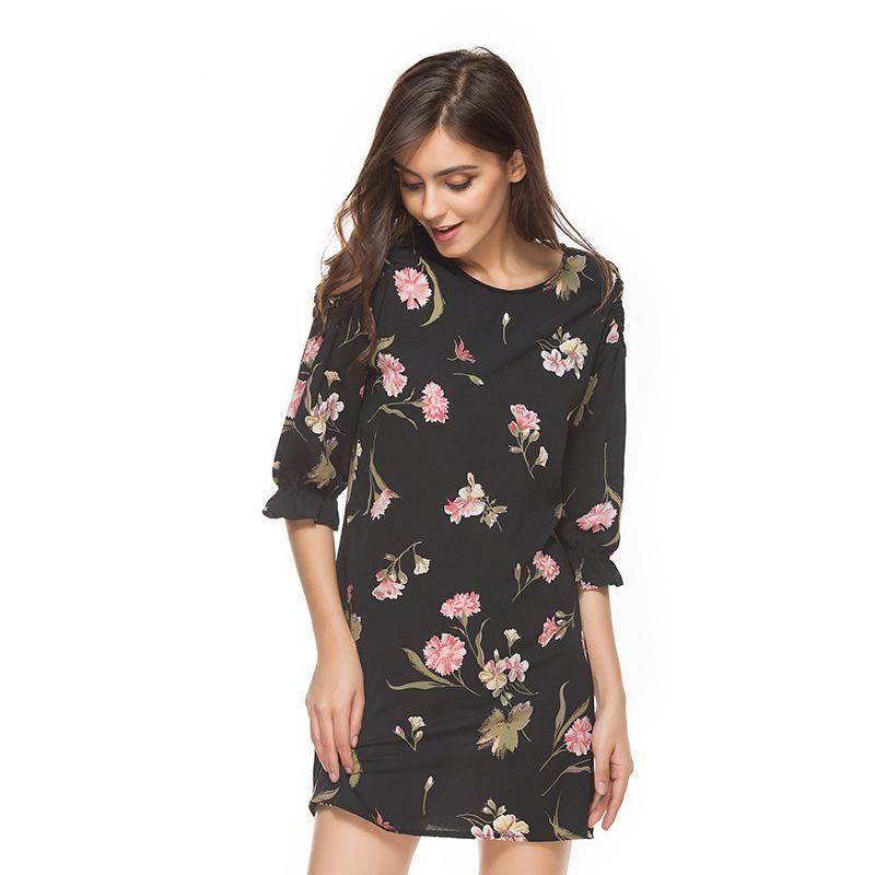 2018 Summer Floral Print Dress Fashion Hot-selling Plus Size Tank Dress  Print Short Skirt Sleeveless Chiffon One-piece Dresses