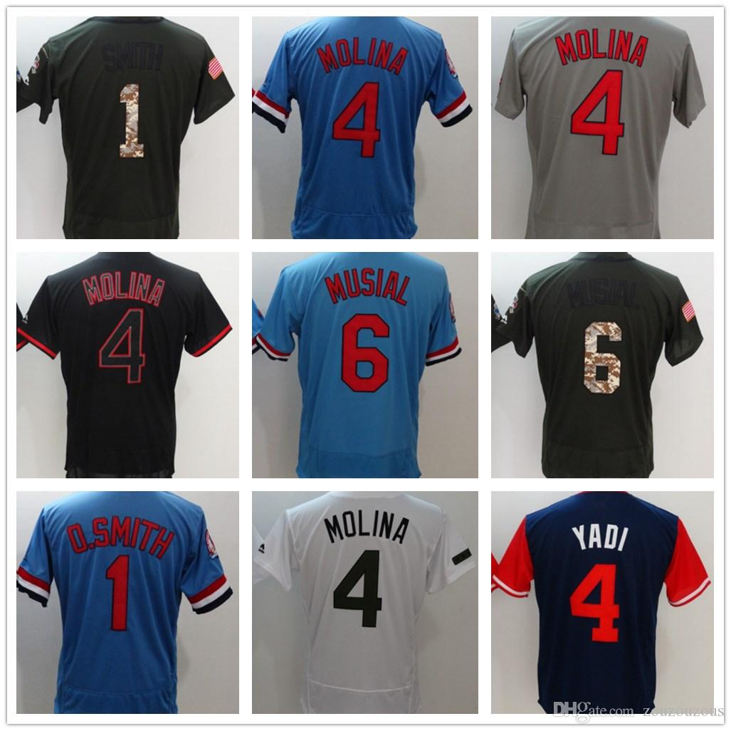 official photos eb5d5 c9eae 2018 St. Louis Men women and youth Abaseball jerseys #4 Yadier Molina  jerseys Red, black, white, blue Baseball Jersey
