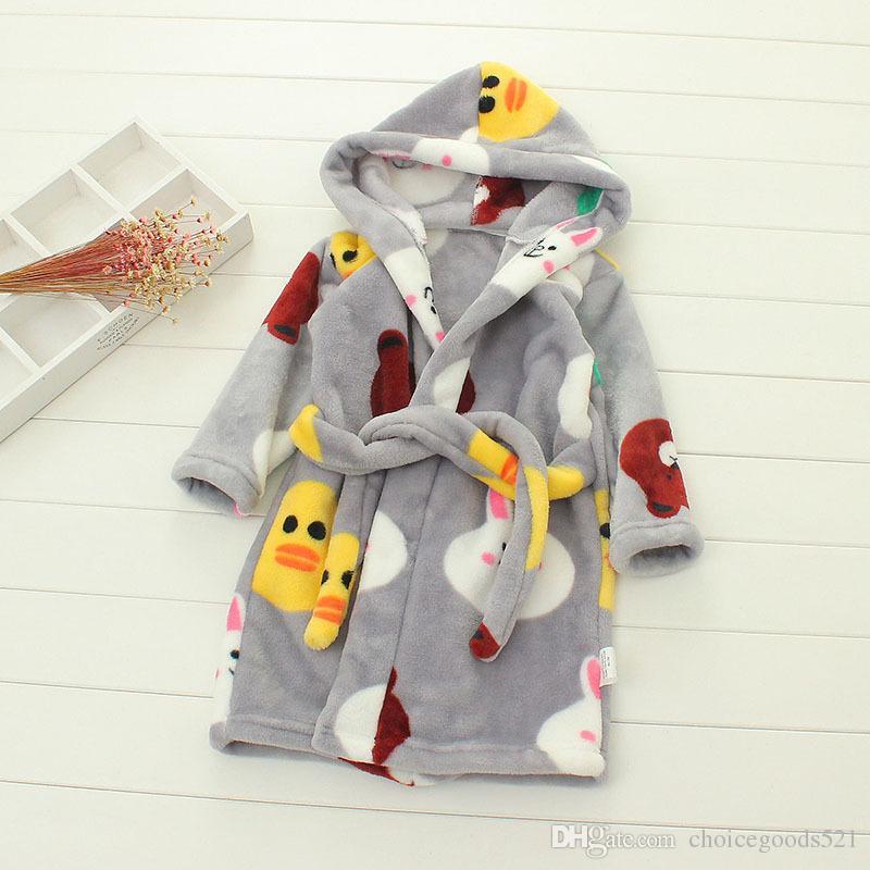 Kids Bathrobe Winter Sleepwear Girl Nightwear Children Flannel ... cb44c4bef