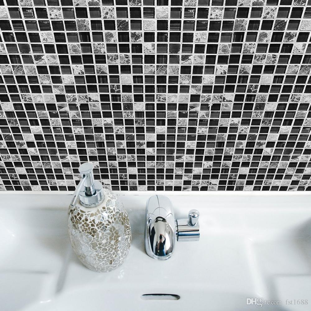 3D Kendinden yapışkanlı Su Geçirmez Siyah mermer Mozaik Duvar resmi Sanatı Mutfak Mobilya Kiremit Sticker Vinil Çıkartması 20 * 20 cm Ev Dekorasyon