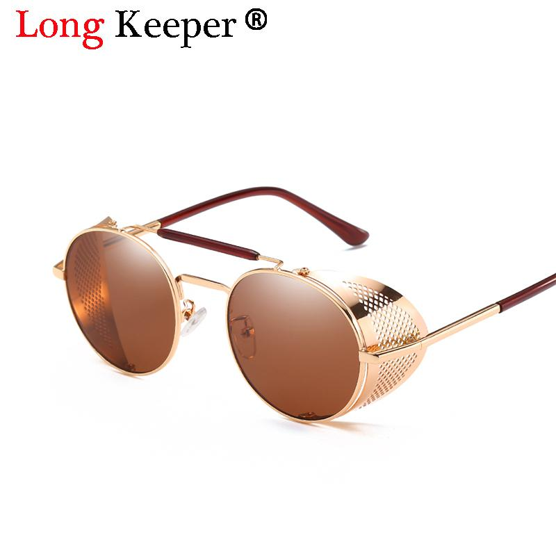bf84c3c66ac6f 2018 New Fashion SteamPunk Sunglasses Men Round Side Mesh Style Sun Glasses  Brand Designer Vintage Punk Eyewear Men Gafas De Sol Knockaround Sunglasses  ...