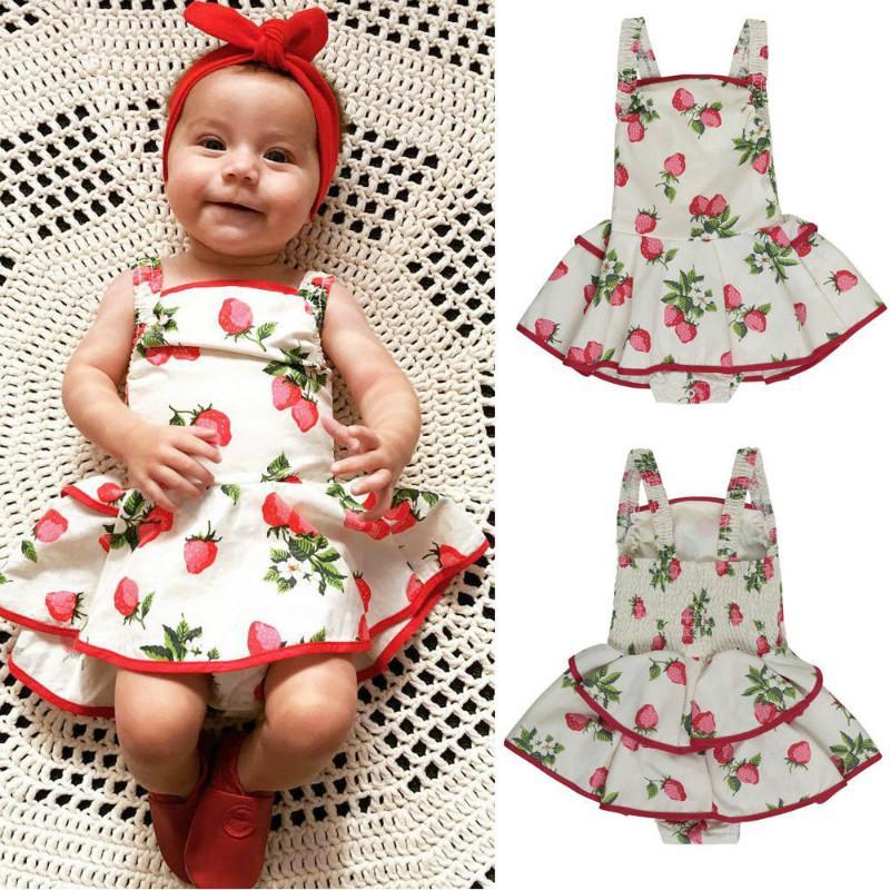 3ece437c63bd6 Newborn Infant Kids Baby Girls Romper Dress Bodysuit Tutu Dress Clothes  Outfits Girls Strawberry Strap 0-24M