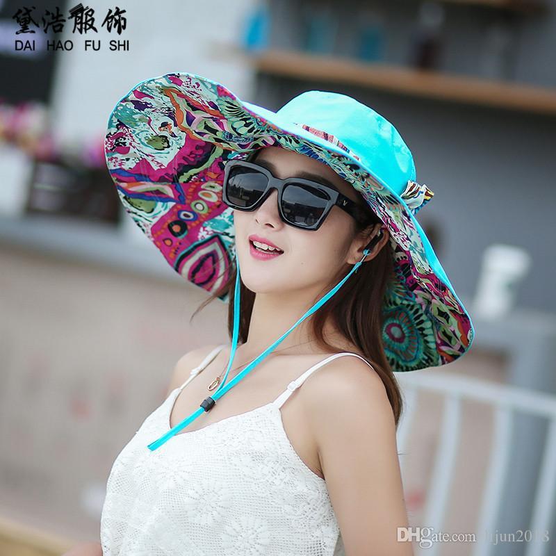 390bfe974f3c0 Summer Women S Foldable Floppy Reversible Large Cap For Women Travel Beach  Sun Visor Hat Wide Brim UPF 50+ Church Hats Vintage Hats From Lijun2018