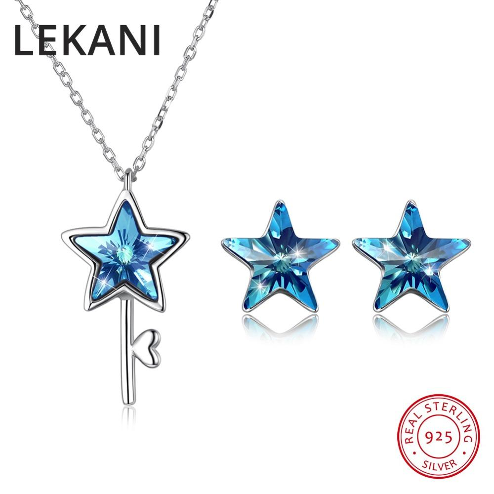 LEKANI Crystals From Stars Jewelry Set For Women Wedding S925 Silver ... 03f74745e1b0