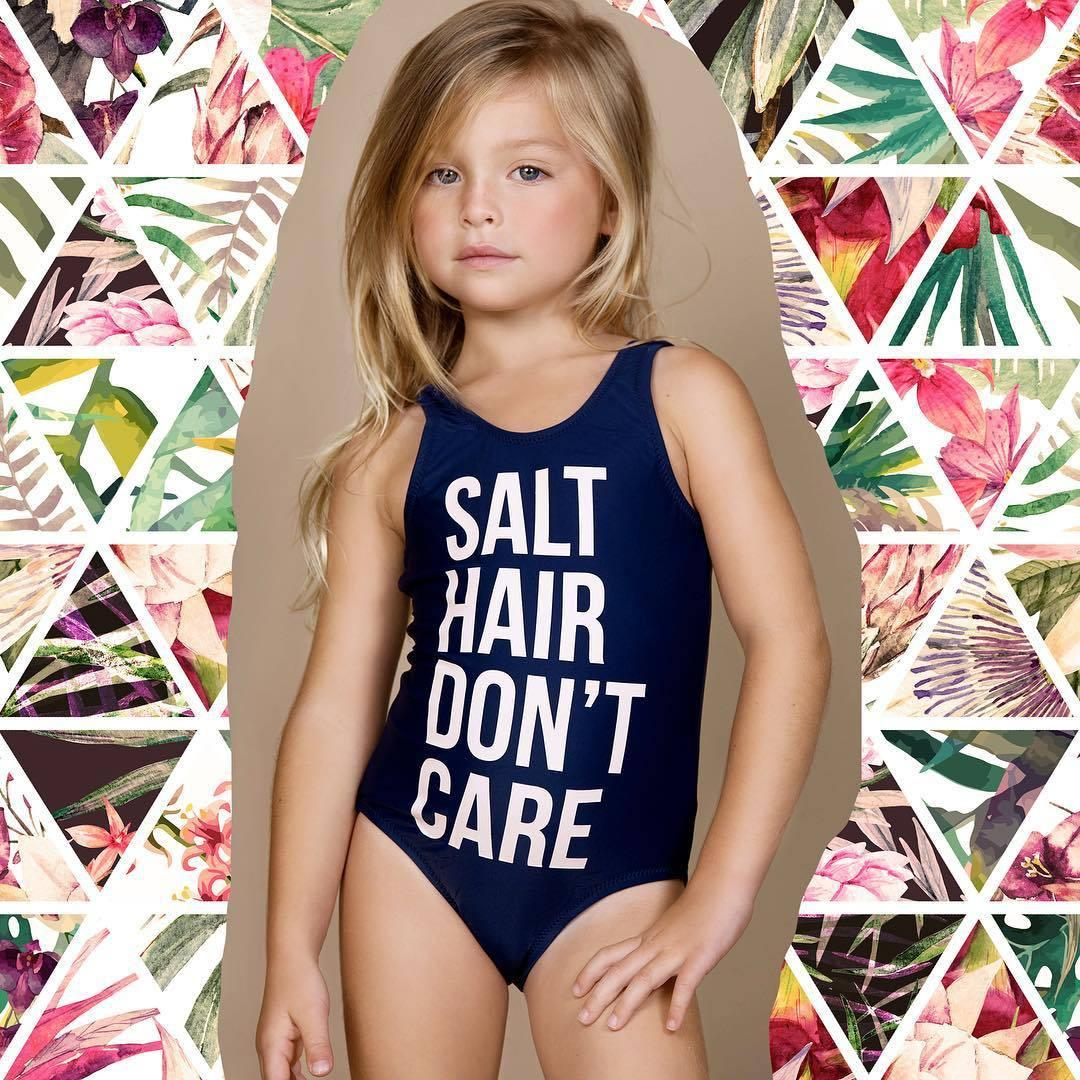 8a7e6642396 Cute Summer girl one-piece swimsuit SALT HAIR DON T CARE Printed Swimsuit  Boutique clothes girls kids baby clothing 2052