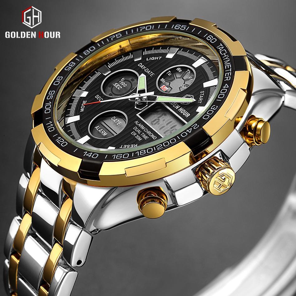 Männer Uhren Luxusmarke Voller Stahl Quarzuhr Led Digitaluhr Männer Handgelenk Sportuhr Military Relogio Masculino Feminino Digitale Uhren Herrenuhren