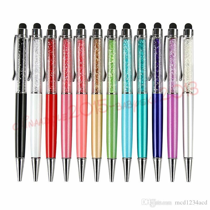 2 in 1 penna di tocco dello stilo di lusso del diamante Capacitve PENNINO sfera iPhone 6 7 8 x Tablet PC Samsung