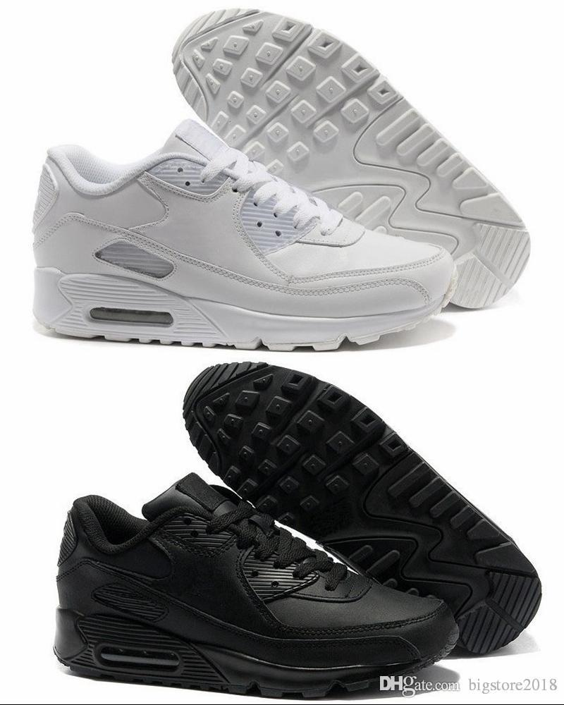 97d79b50decfc1 2018 New Men Womens 90s Running Shoes Black White Pink Classic 90 Mens  Sneakers Trainer Designer Off Presto Sports AIR Chaussures Shoes Sports  Spikes Shoes ...