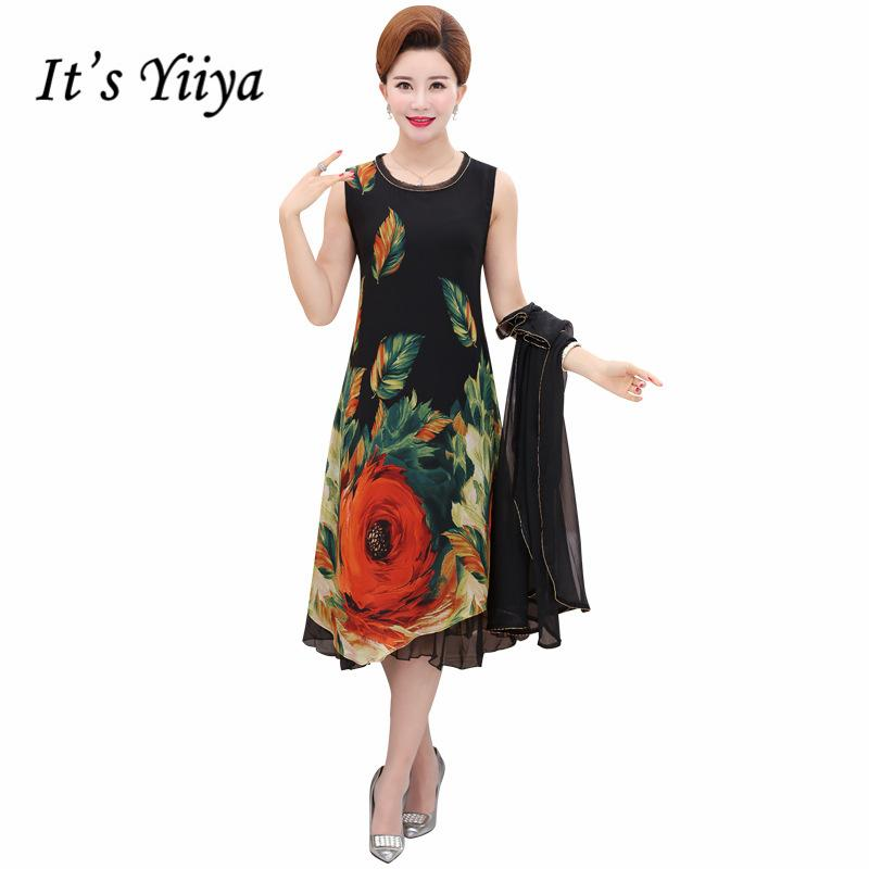 It\'s Yiiya Mother of the Bride Dresses Plus Size Chiffon O-Neck Flower  Pattern 2 piece set Elegant Mother Dress M007