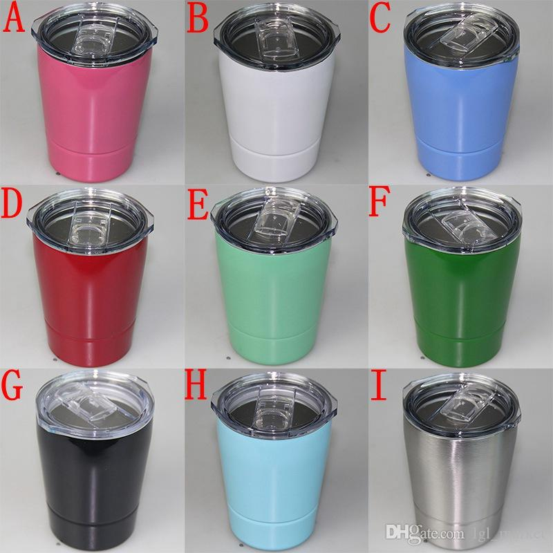 2018 New Stemless wine glasses Vacuum Insulated Travel Vehicle Beer Mug Stainless Steel Lowball with lids 8.5oz wine mug cup with straw