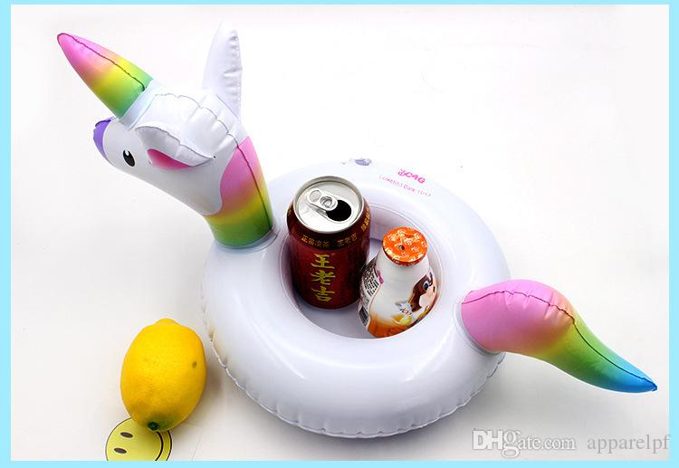 Pink Unicorn cup seat inflatable water cushion, floating drink cup holder, wholesale inflatable toy swimming Balloon wholesale