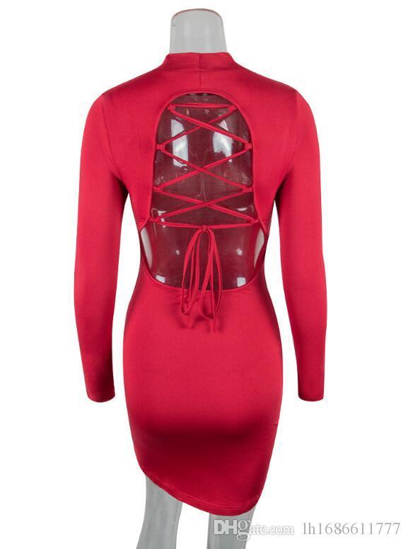 Mini Elbiseler Uzun Kollu Sıkı Seksi Kulübü Bandaj Bodycon Elbise 2018 Kadınlar Siyah Kırmızı Dantel Up Backless Parti Elbiseler