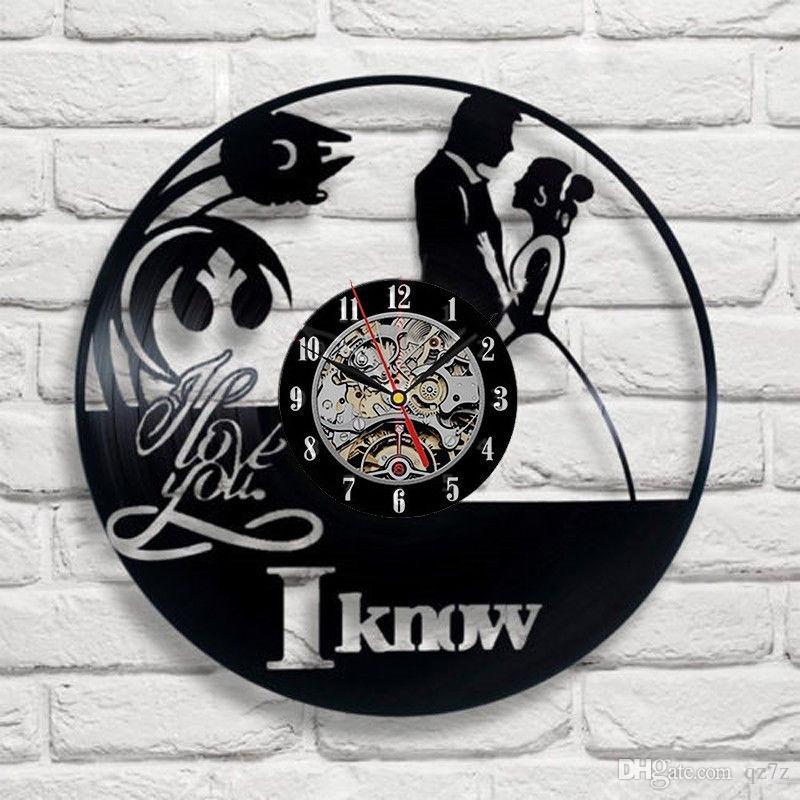 Eu te amo vinil criativo relógio de parede de moda para casa decoração quarto pingente relógio amor presente tamanho: 12 polegadas, cor: preto