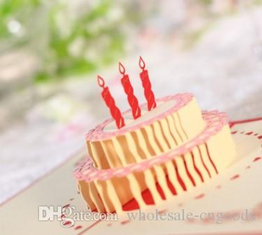 3D Birthday Cake Cards Employee Holiday Christmas Hand Carved Paper Wholesale Greetings For From