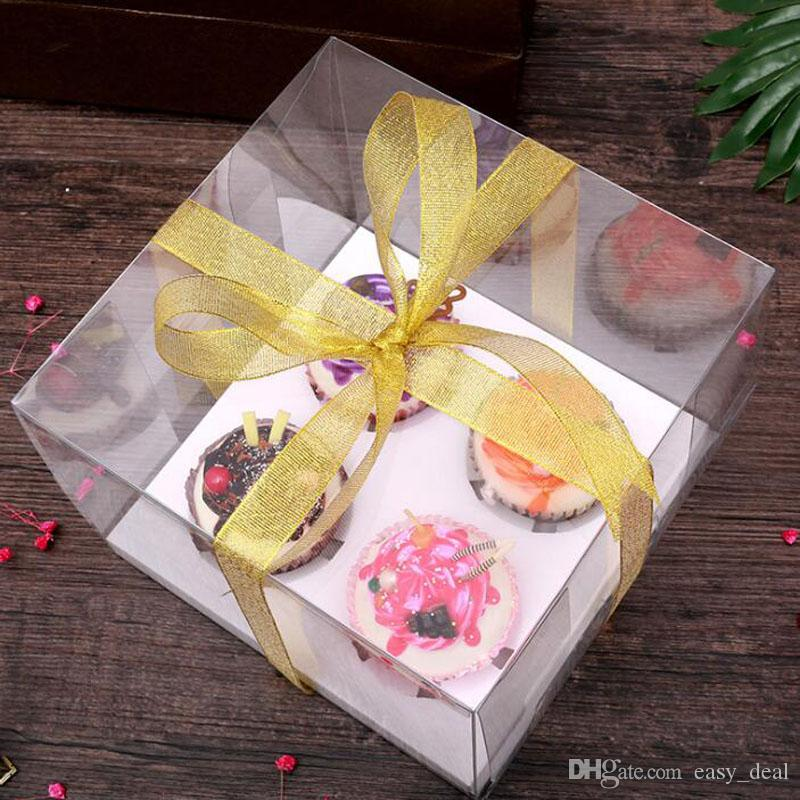 Cupcake Box Clear PET Transparent Biscuits Cookies Candy Boxes With Base Inside Wedding Party Gift Packaging Box ZA6282