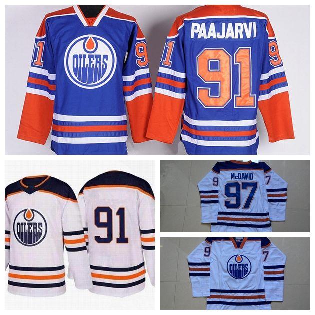 Edmonton Oilers Hockey Jerseys 91 Paajar 97 Connor McDavid Ice Hockey  Jerseys Stitched Blue White S 3XL UK 2019 From Lejerseys 04118d655