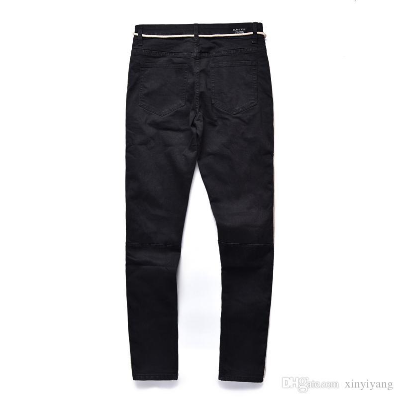 New Lover Retro Jeans a righe bianche Pantaloni Ginocchia Grandi fori distrutti Suola Streetwear Slim Side Zippered Leg Jean