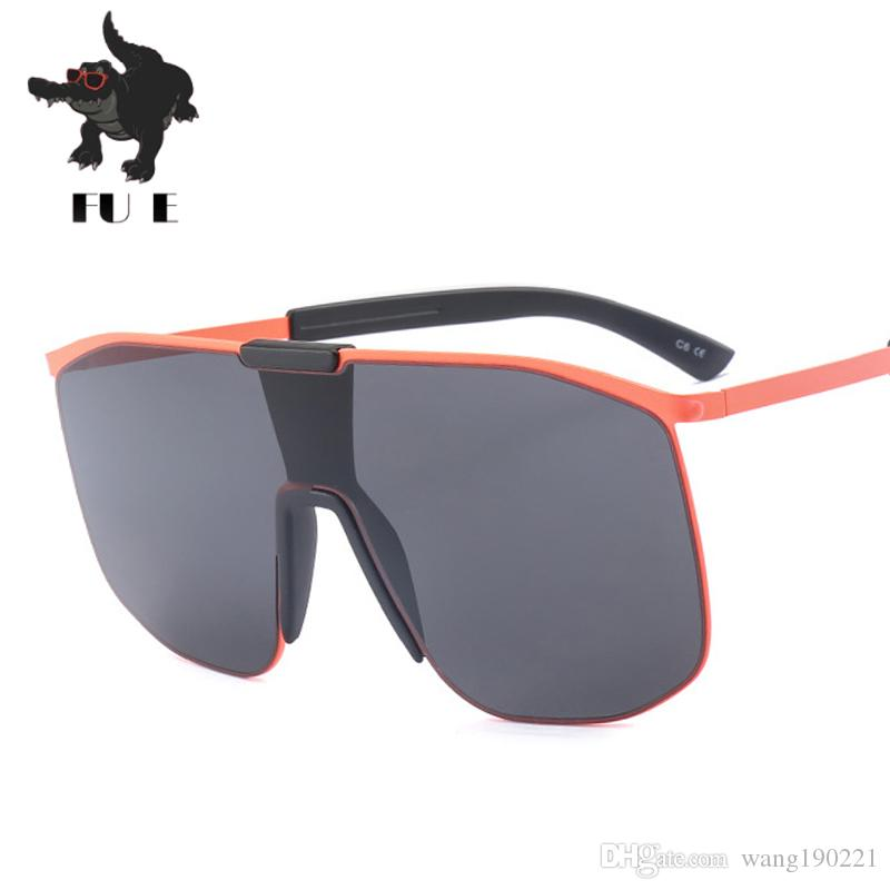 Compre Fu E2018 Nova Personalidade Moda Óculos De Sol Senhora Marca Projeto  Siamese Óculos De Sol Tendência Grande Quadro Homens Óculos De Sol Uv400  18418 ... 0d03bbdbae