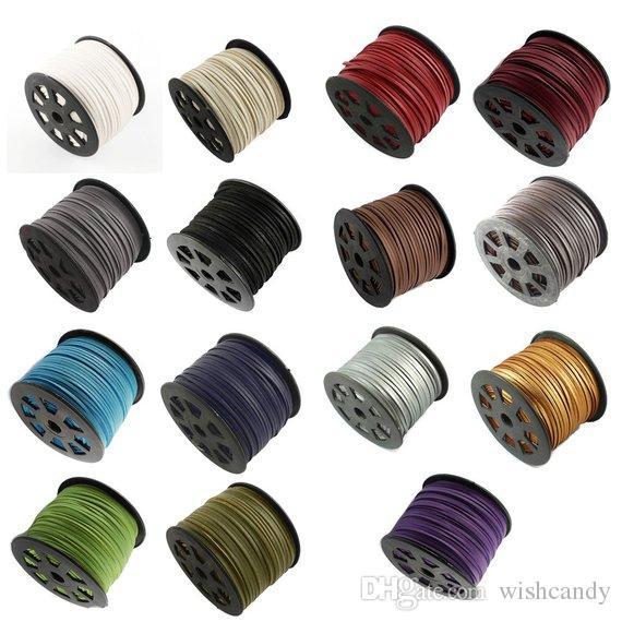 517374f7df4c 100 yardas / lote 3 MM x 1,5 MM Un lado de cuero de PU recubierto con  cordón de gamuza sintética, pulsera de encaje, collar, cuerda, elige color