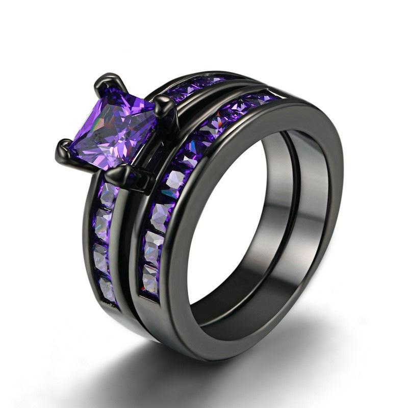 Women Purple Amethyst Cubic Zirconia CZ Black Gold Plated Vintage Ring Engagement Wedding Band Set