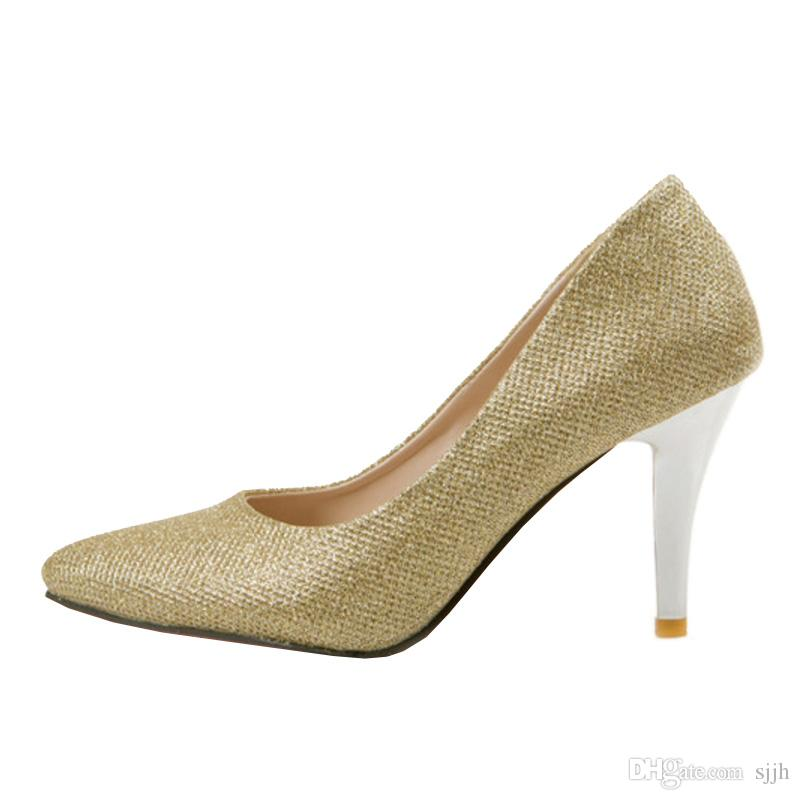 SJJH 2018 Glitter Fabric Pumps with Pointed Toe and Stiletto Heel Elegant Working Shoes for Fashion Women with Large Size Available A121