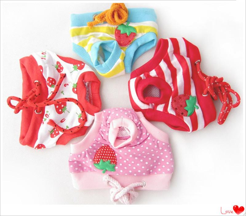 Female Pet Sanitary Underwear Lovely Puppy Dog Pant Short Panty Strawberry Striped Diaper 4colors Whosale