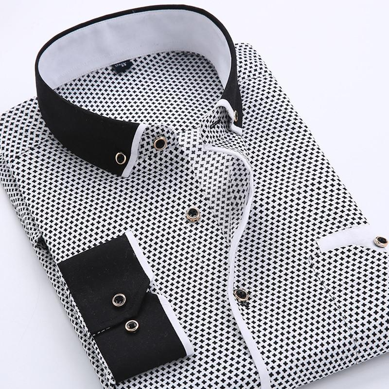 cdbb48ec399 Men Dress Shirts Long Sleeve Printed Men Fashion Casual Slim Fit Male  Social Business Shirt Soft Comfortable Brand Men Clothing Size S-4XL Mens  Long Sleeve ...