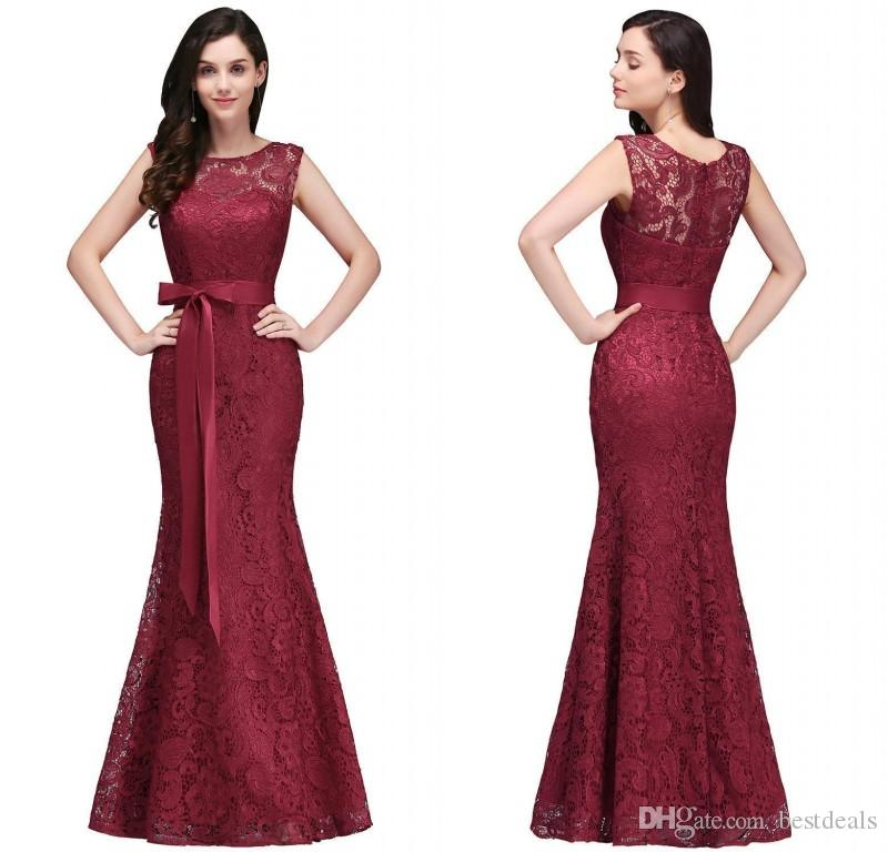 2018 Designer Burgundy Lace Evening Dresses Elegant Mermaid Prom ...