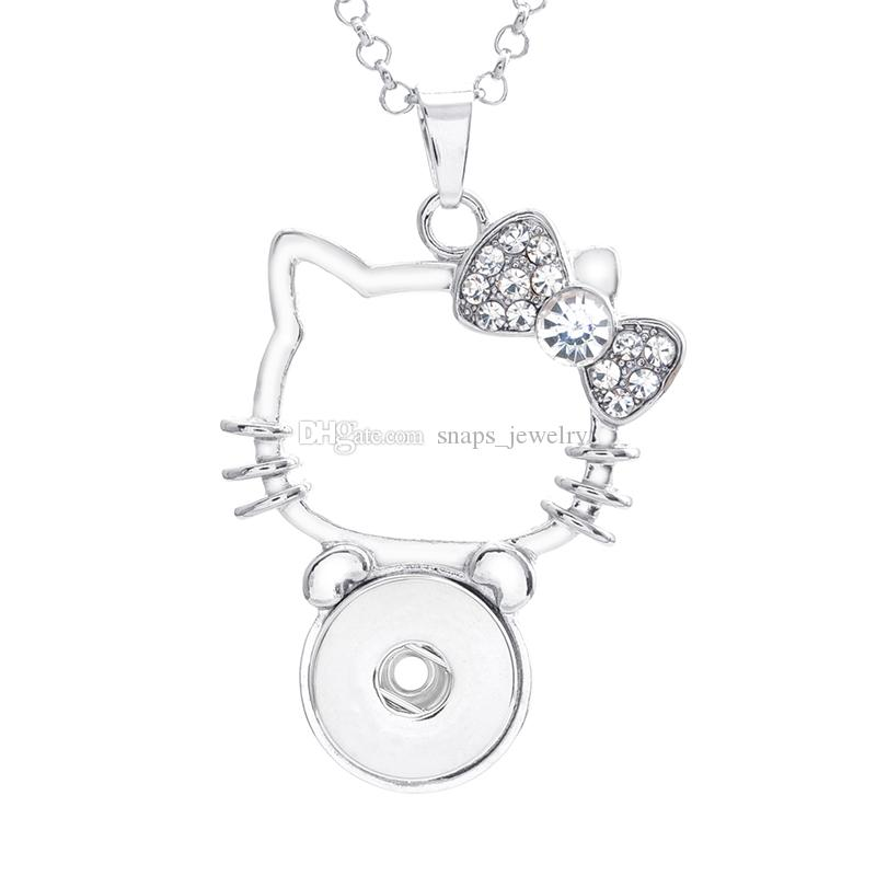 Noosa chunks crystal hello kitty cat 18mm snap button necklace for women ginger snap button jewelry