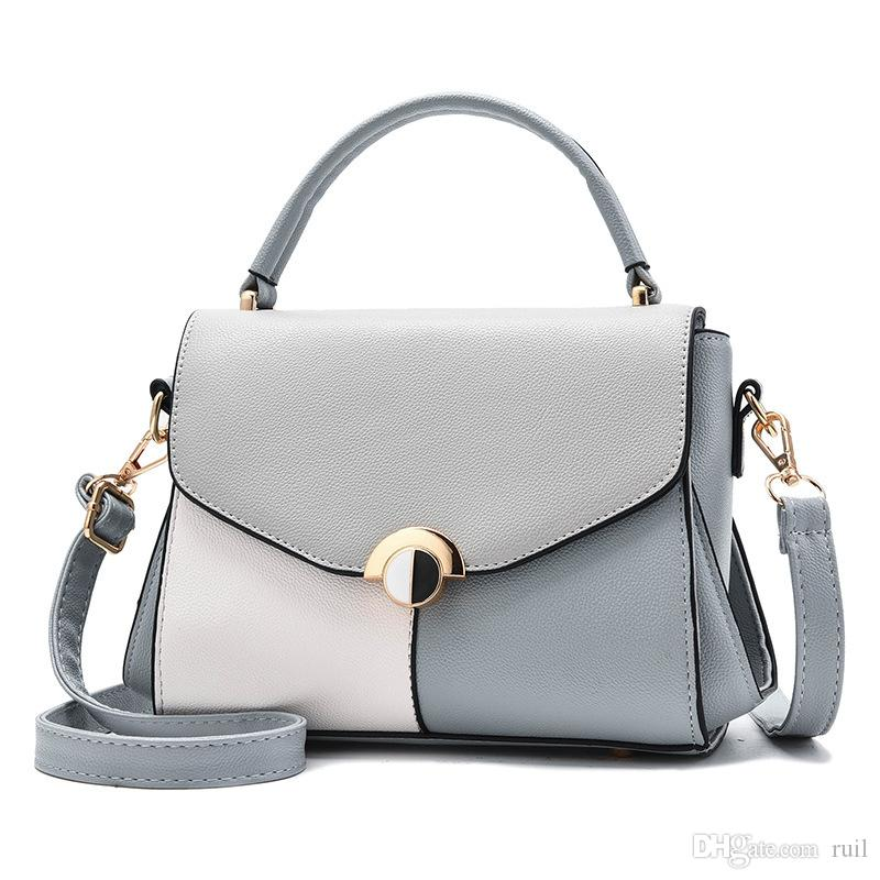 2018 Girls Hand Bag Women Simple Bags Fashion Designer Handbag Stitching  Casual Shoulder Messenger Bag New Sac Femme Leather Handbag Red Handbags  From Ruil a536b47de370d