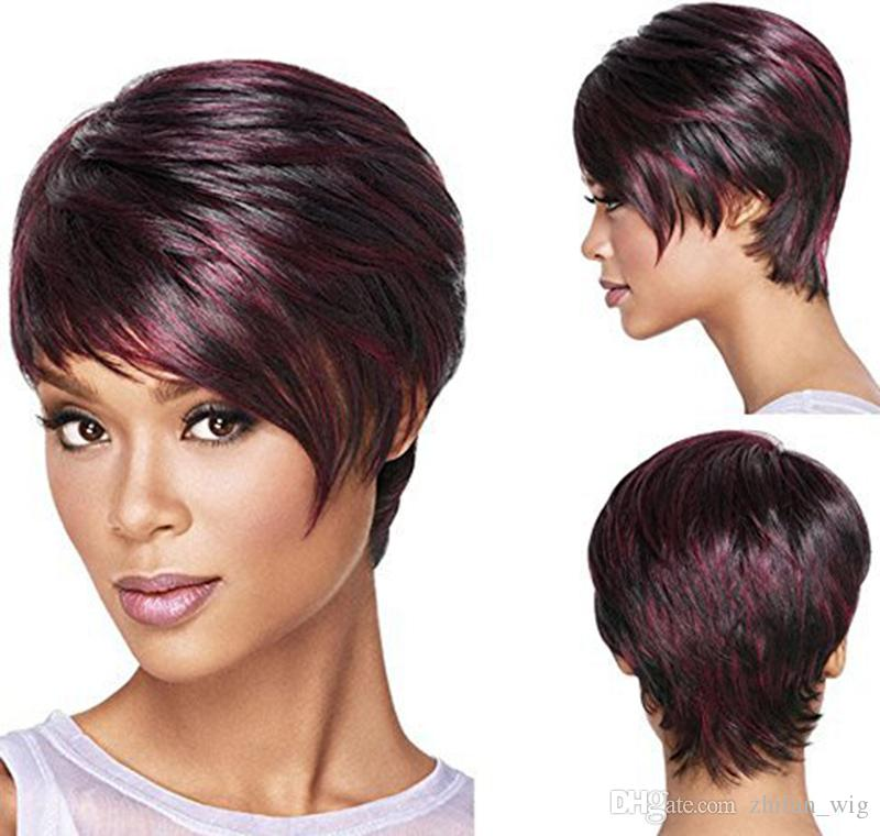 Z&F Hot European and American Black Dyed Wig Burgundy Mix Color Straight Short Hair With Oblique Bangs For Women