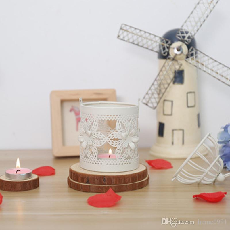 New 3 Types Metal White Candle Holder Tealight Candelabra Hollow Hanging Lantern Bird Cage Vintage Candle Holders Decorative Candlestick