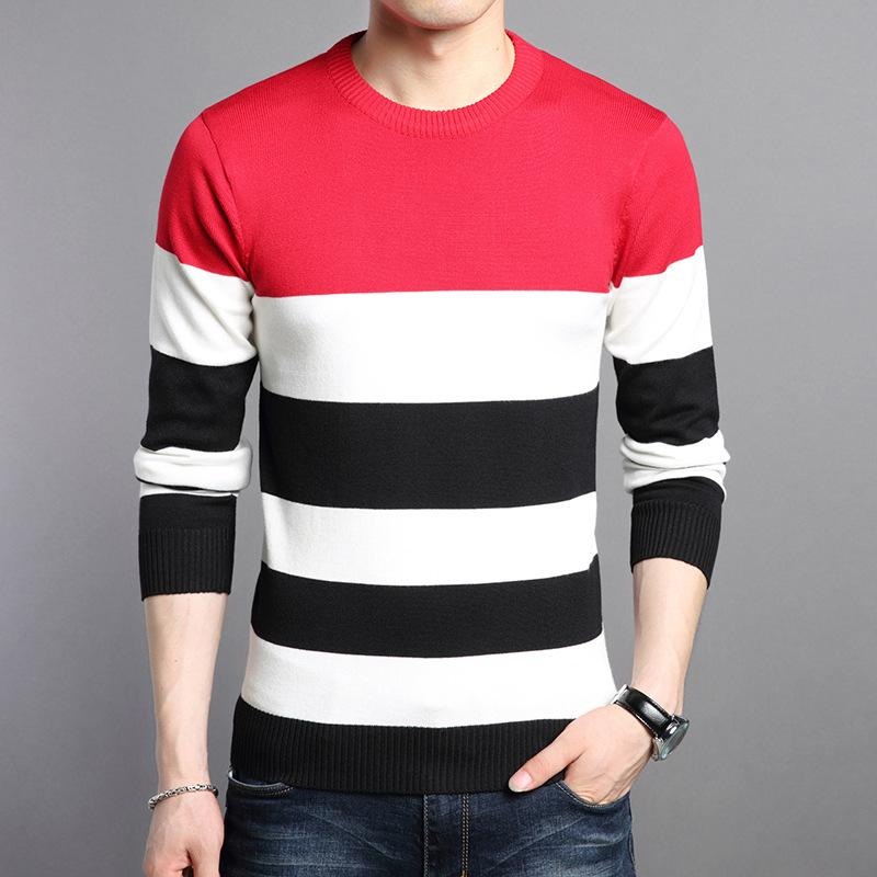 2019 2018 Autumn And Winter New Fashion Design Red White Black Strip Sweater  Men Casual Wear O Neck Pullovers Sweaters Men From Splendid99 c068ca900