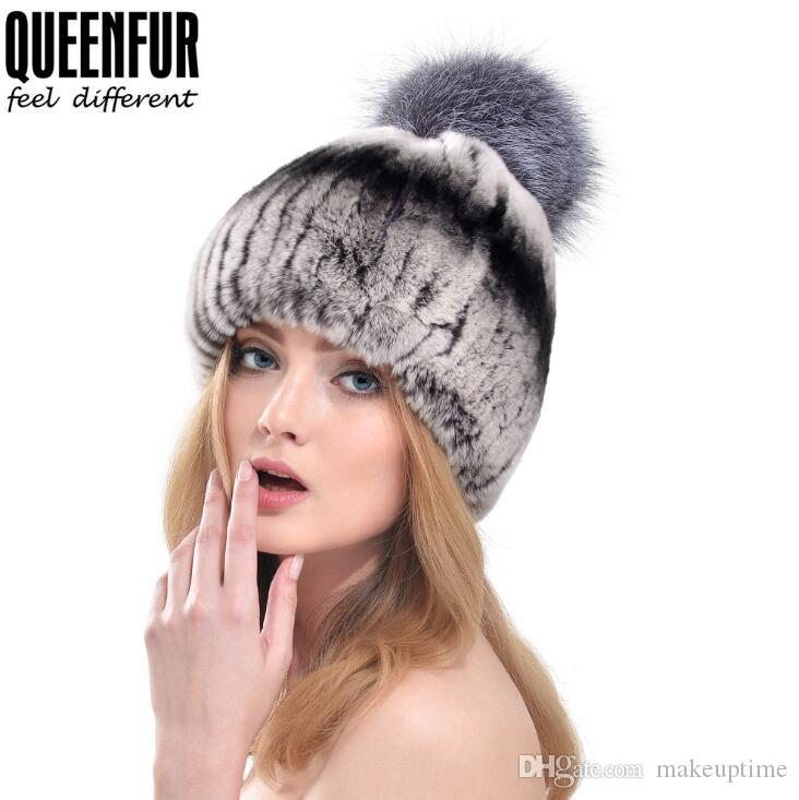 9fbf24511d0f9 Wholesale QUEENFUR Women Fashion Real Rex Rabbit Fur Hat With Silver Fox Fur  Big Pom Poms Beanies 2018 Winter Warm Thick Rabbit Fur Caps Trilby Mens Hats  ...